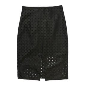 Laser Cut Faux Leather Pencil Skirt sz 6